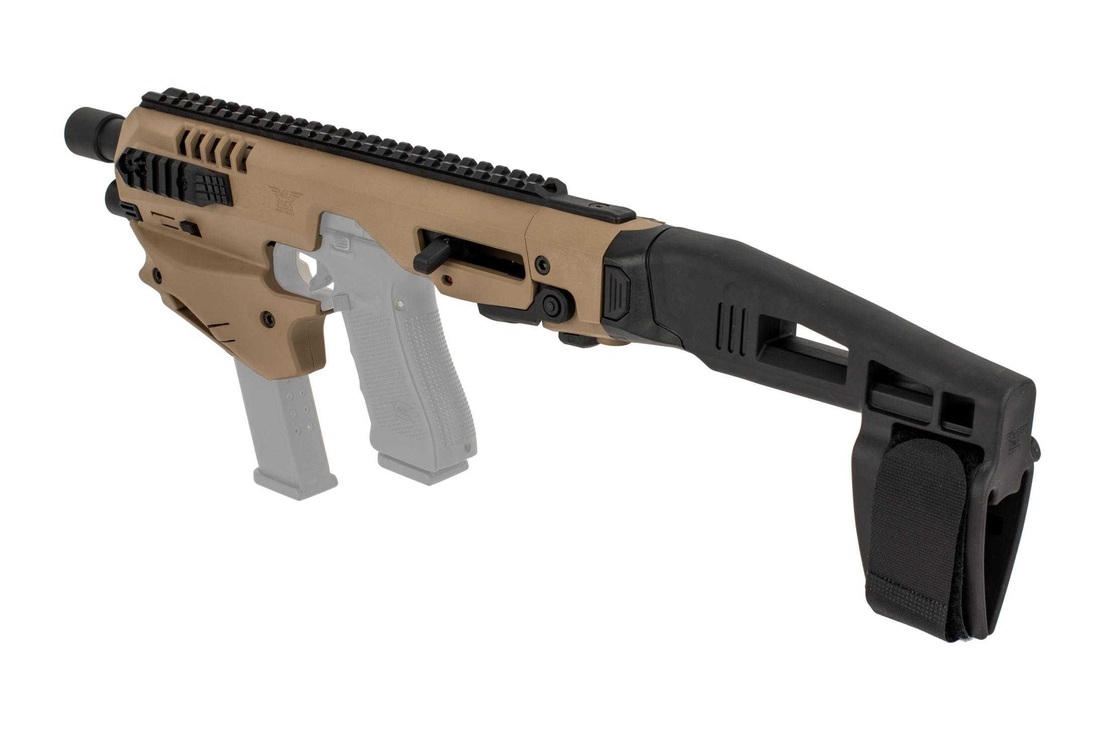 Command Arms Micro Conversion Kit with a stabilizer, ambidextrous controls, and improves accuracy out to 200 yards with flat dark earth finish