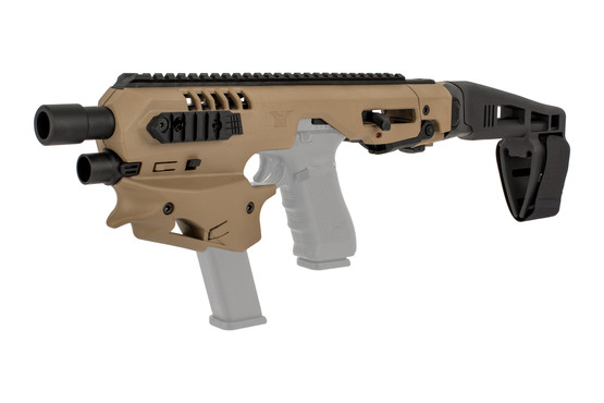 Command Arms Glock-compatible conversion kit is highly ergonomic with a spare magazine holder built in flat dark earth