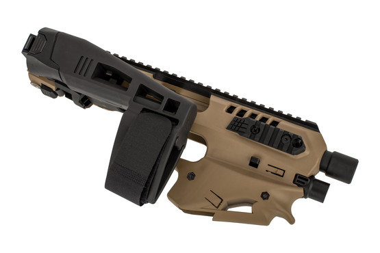 Command Arms long stabilizer Micro Conversion Kit with side-rails and an integrated place to put a light into the chassis in flat dark earth