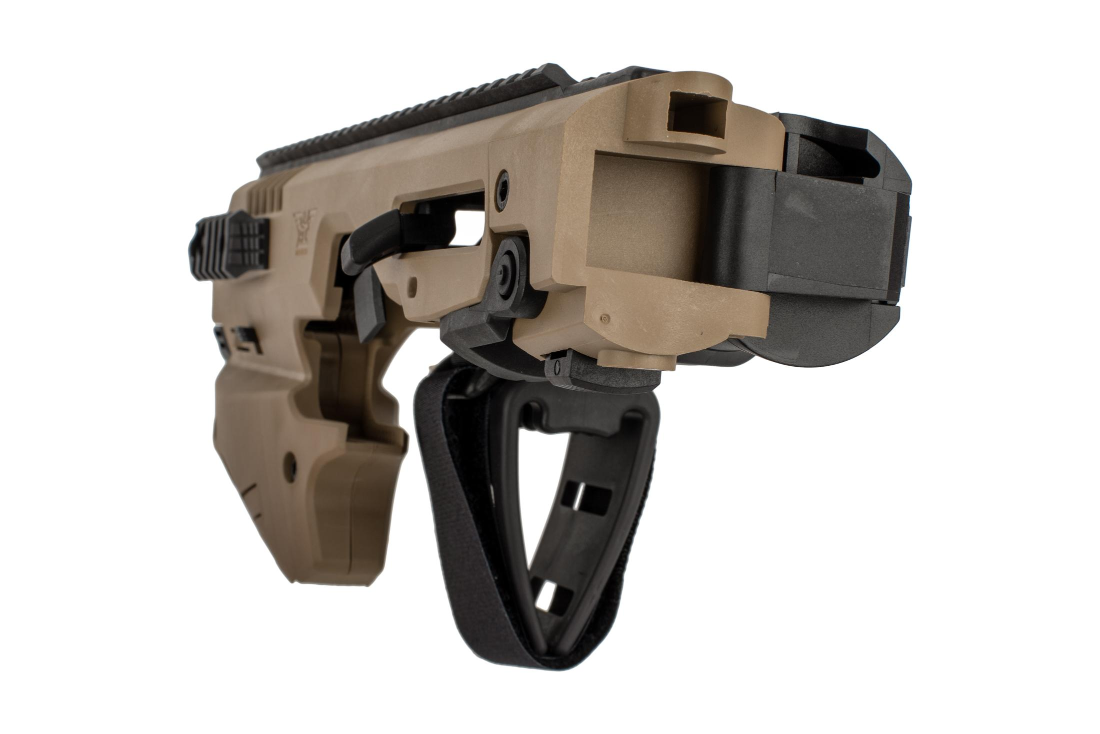 Command Arms Micro Conversion Kit for Glocks offers a side folding long stabilizer in FDE