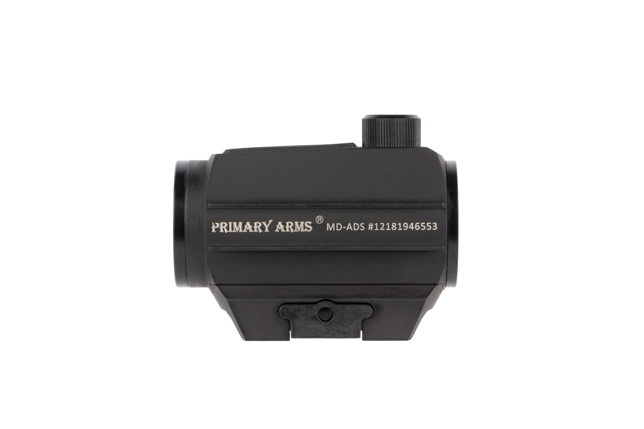 Primary Arsm compact advanced micro red dot sight features a durable black hardcoat anodized finish