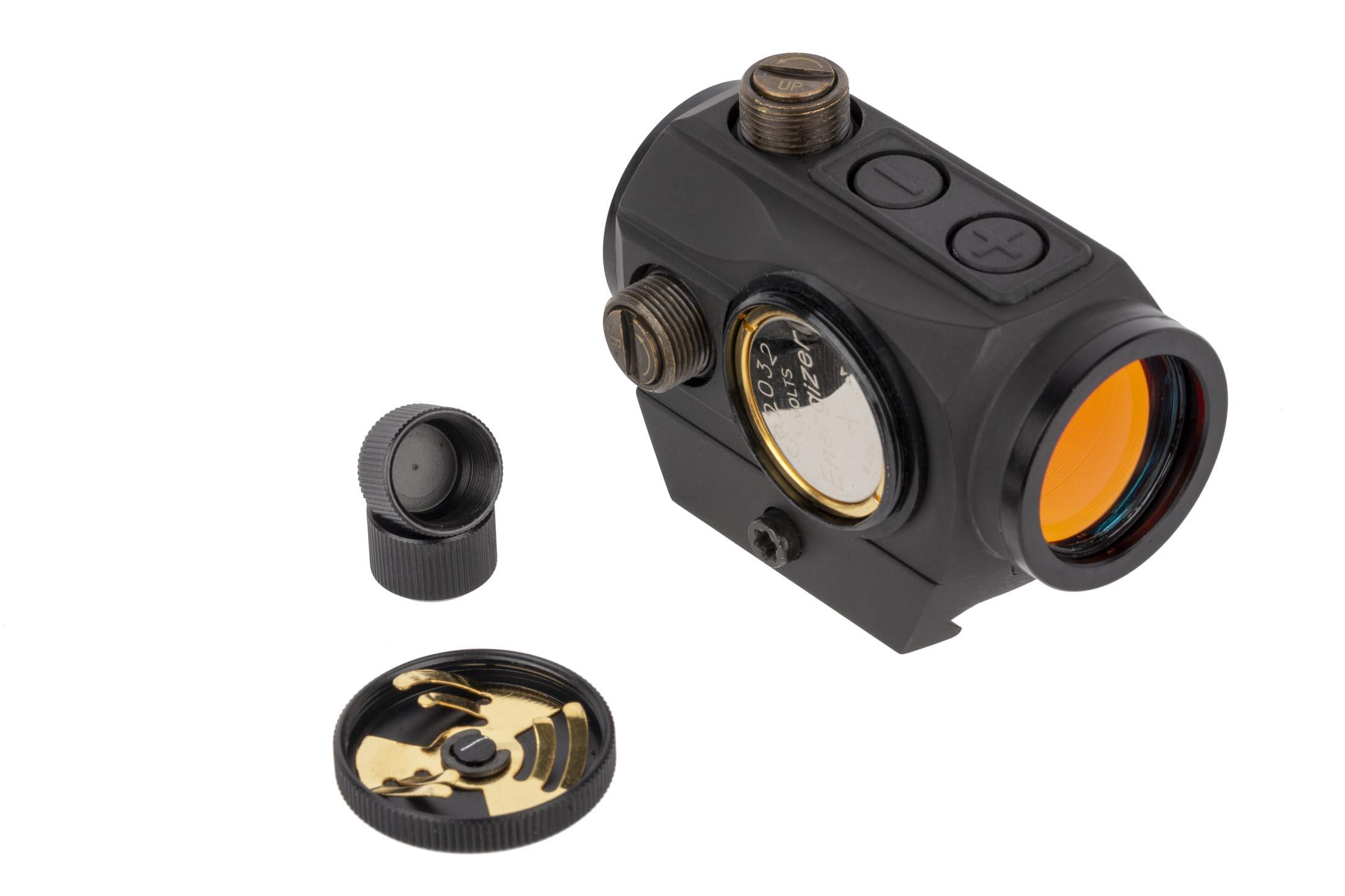Primary Arms Advanced micro red dot scope features capped turrets with 1/2 MOA and accepts standard CR2032 batteries