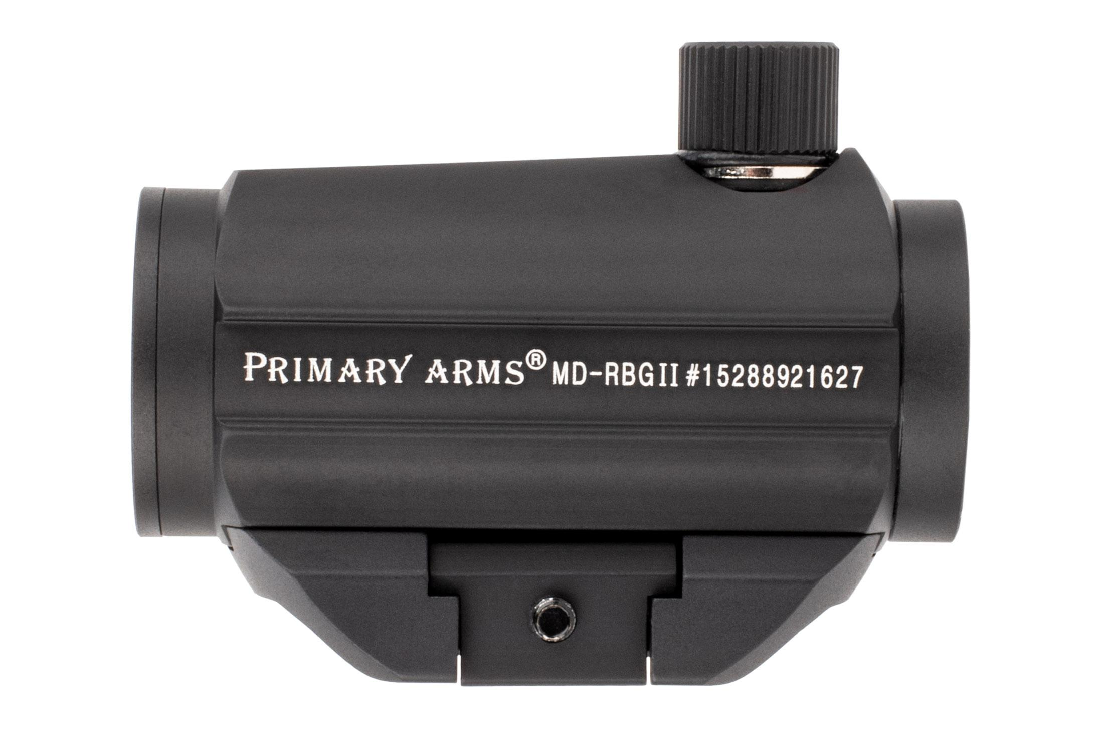 The primary arms red Dot sight features a removeable base and is made out of aluminum