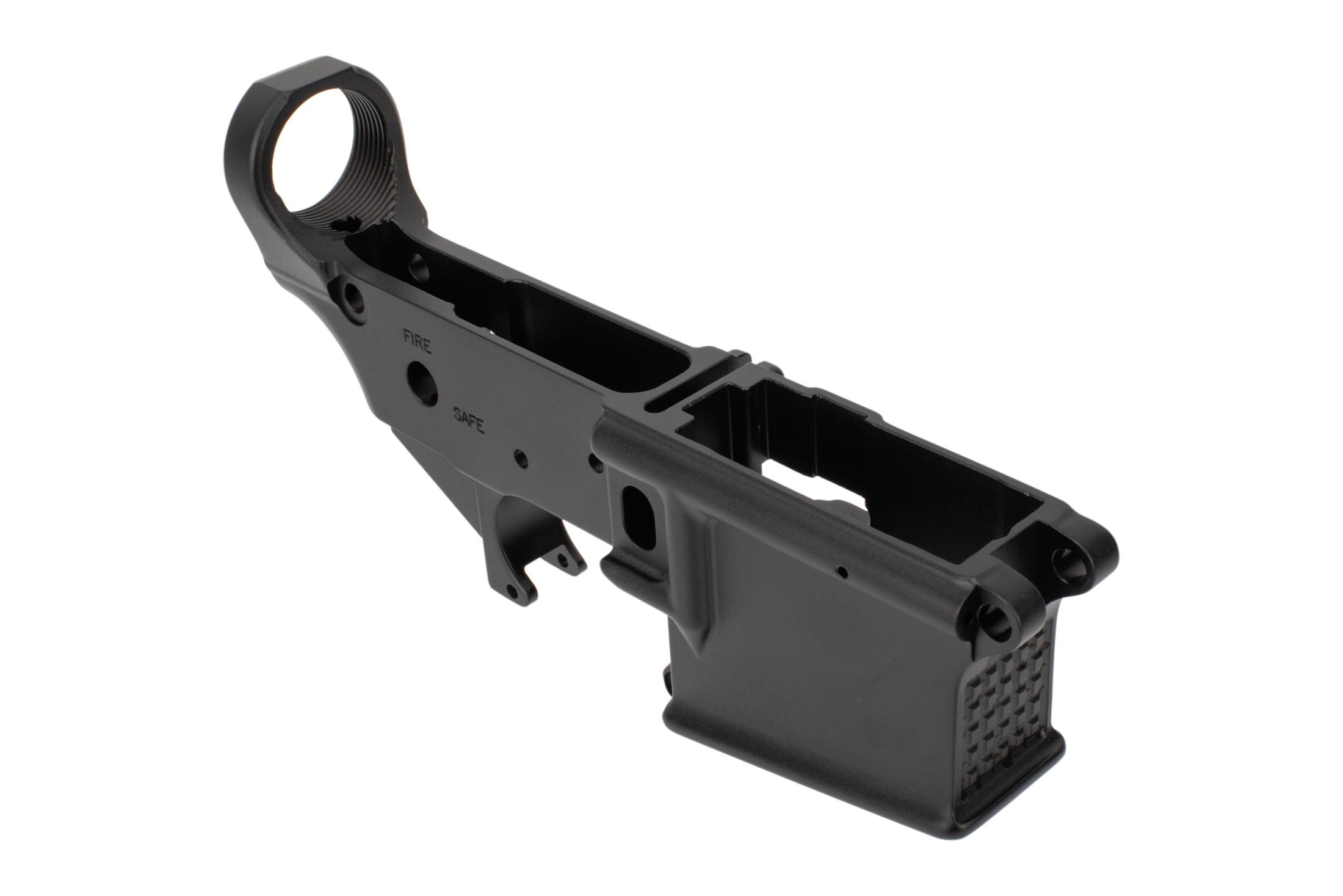 Mega Arms AR-15 Stripped lower receiver features a textured front magazine well