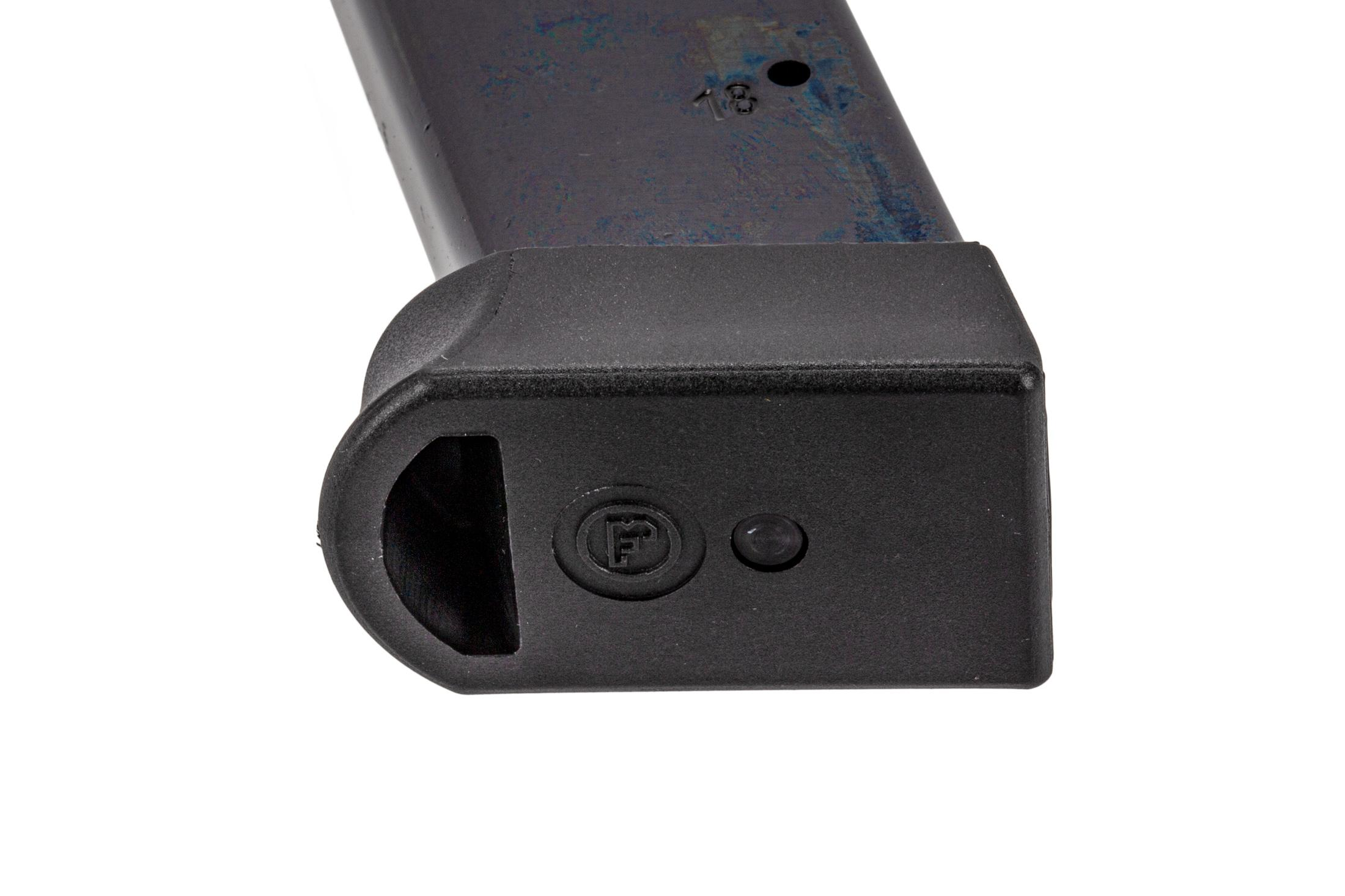 CZ USA full cap 18-round 9mm magazine for CZ75 SP-01/85 handguns with polymer base plate.