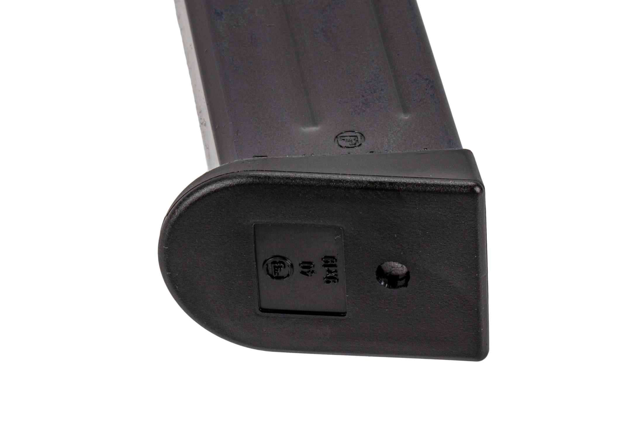 CZ USA full cap 20-round 9mm magazine for CZ75 TS or Czechmate handguns with polymer base plate.