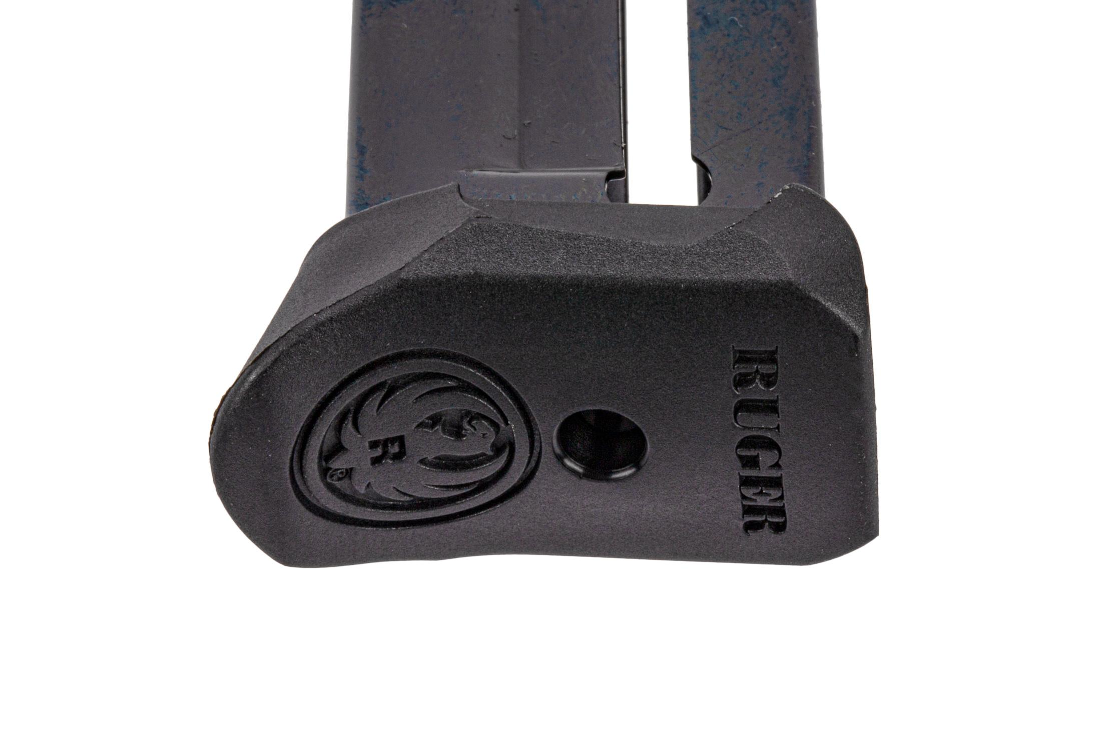 Ruger full cap 22-round .22 LR magazine for SR22 handguns with polymer base plate.