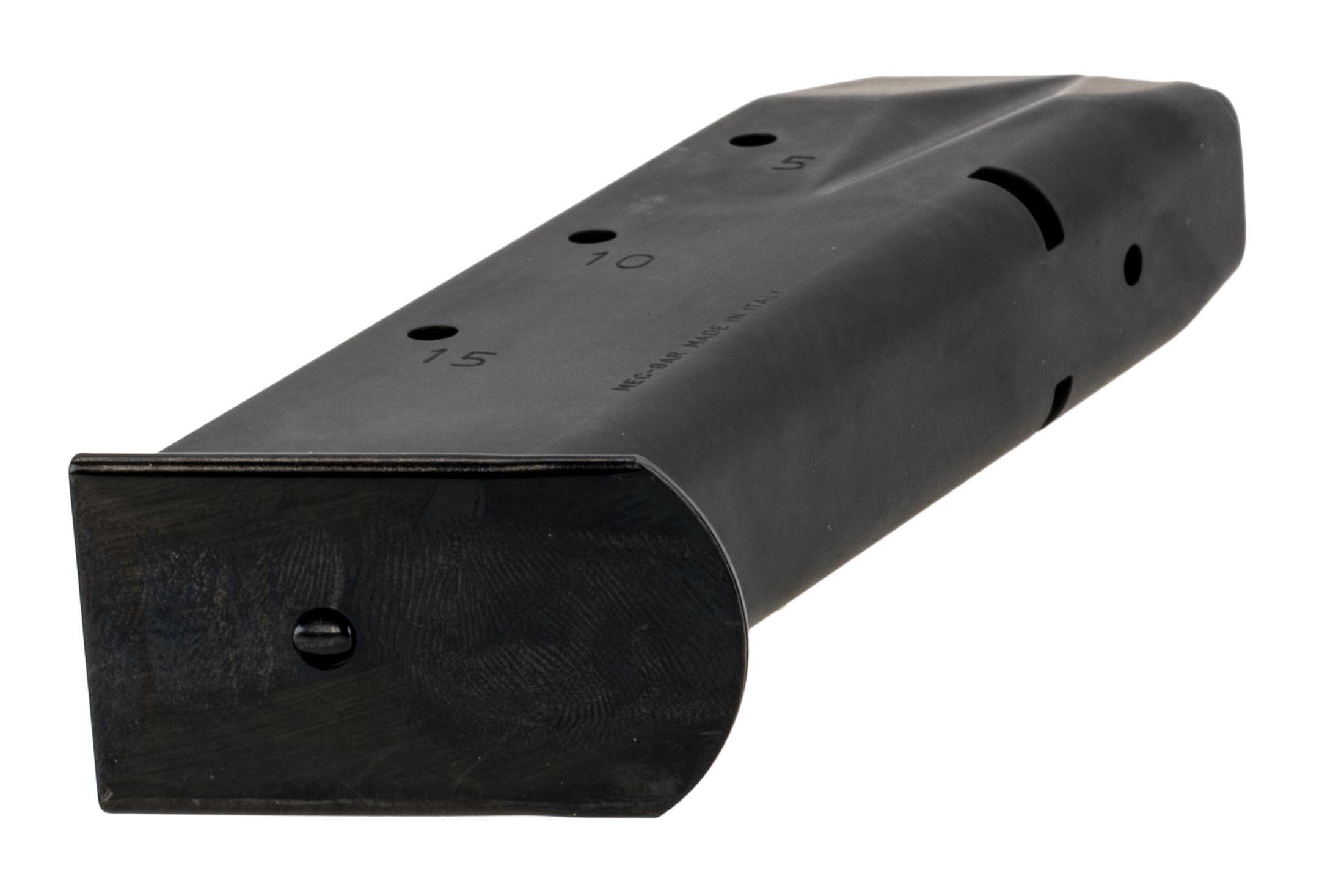 SIG Sauer P226 magazine holds 15-rounds of 9mm Auto ammo with witness holes and easy disassembly.