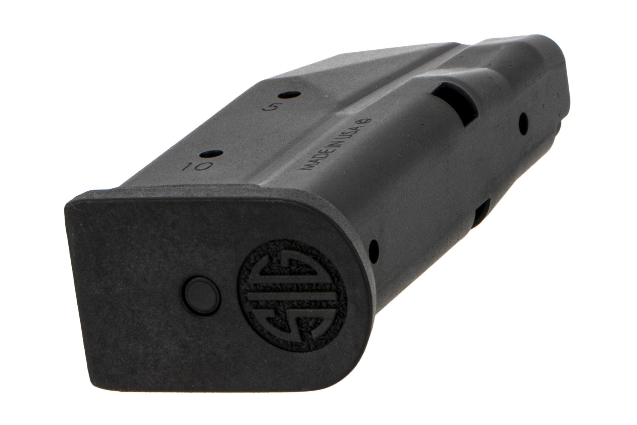 SIG Sauer P365 magazine holds 10-rounds of 9mm Auto ammo with witness holes and easy disassembly.