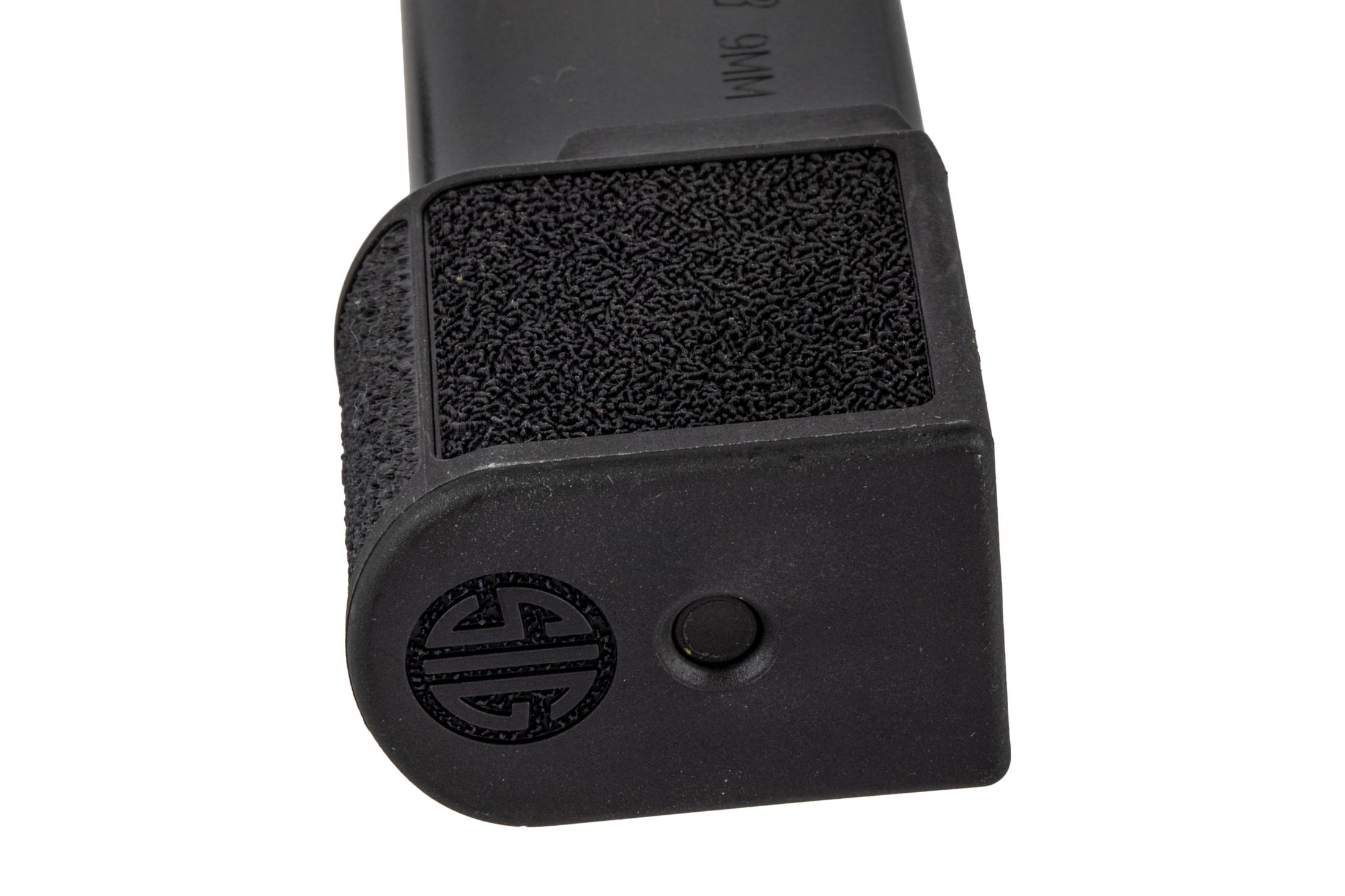 The Sig Sauer P365 factory magazine features a polymer grip extension