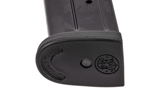Smith & Wesson full cap 15-round 9mm magazine for M&P 2.0 handguns with polymer base plate.