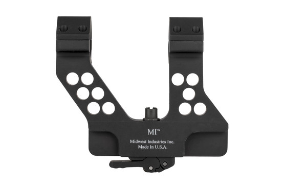 The Midwest Industries AK47 scope mount attaches to the side of the receiver with a quick detach lever