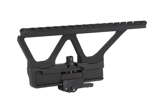The Midwest Industries AK side scope mount with picatinny rail features a modular design for use with other optic styles