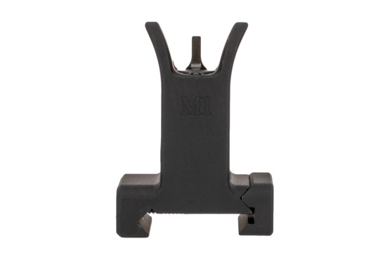 The Midwest Industries front fixed sight features a black anodized finish