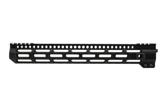 Midwest Industries lightweight AR-15 handguard features a black anodized finish