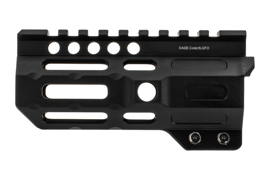 Midwest Industries 4.5 combat rail handguard features a black anodized finish
