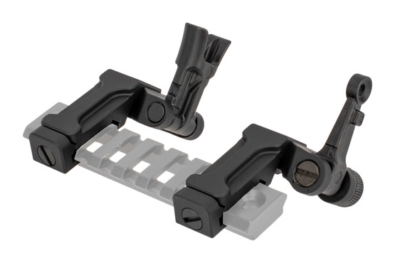 The Midwest Industries 45 degree sight set feature a durable folding mechanism