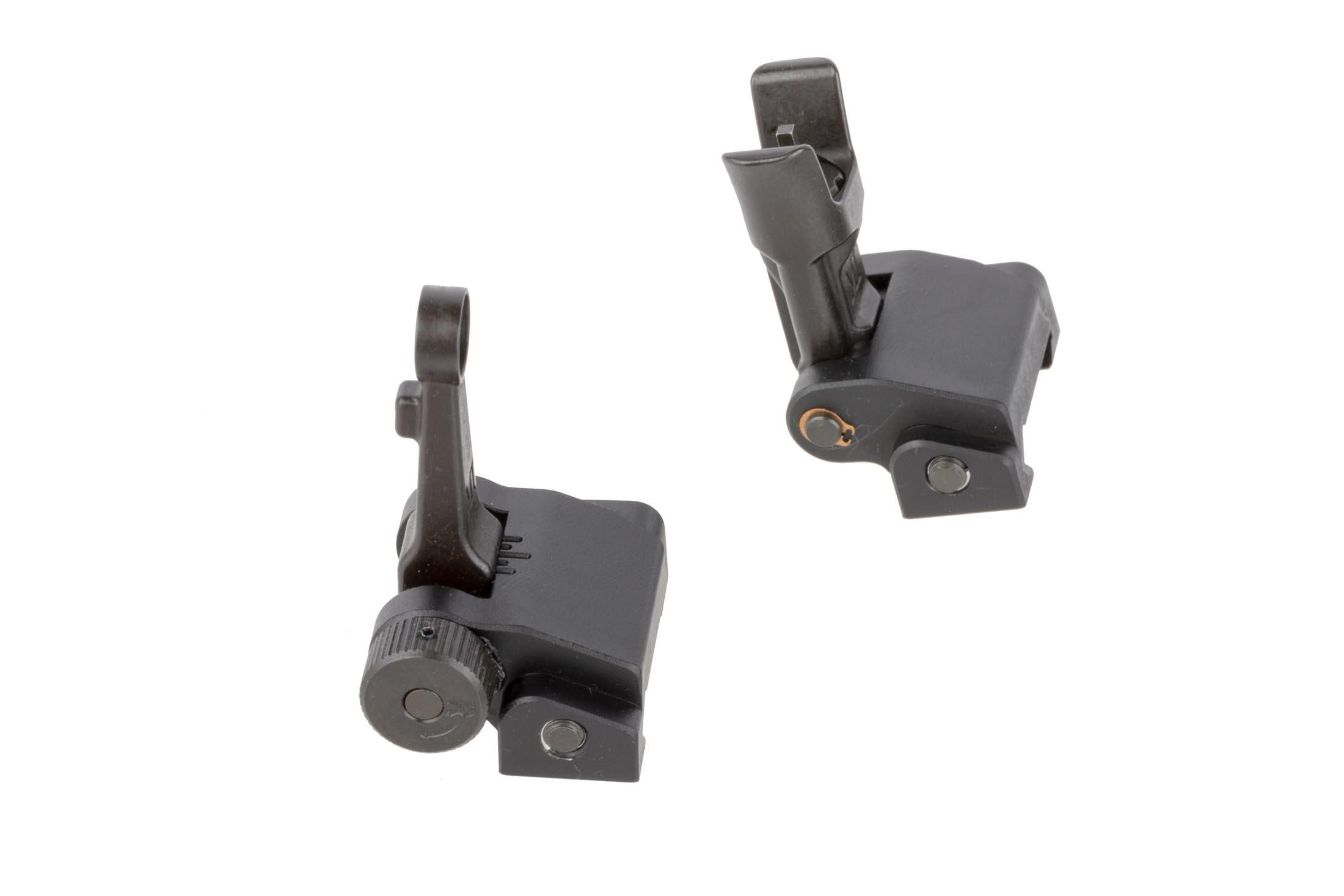 Midwest Industries Combat Rifle sight set folds flat for low-profile stowing that won't interfere with optics or accessories