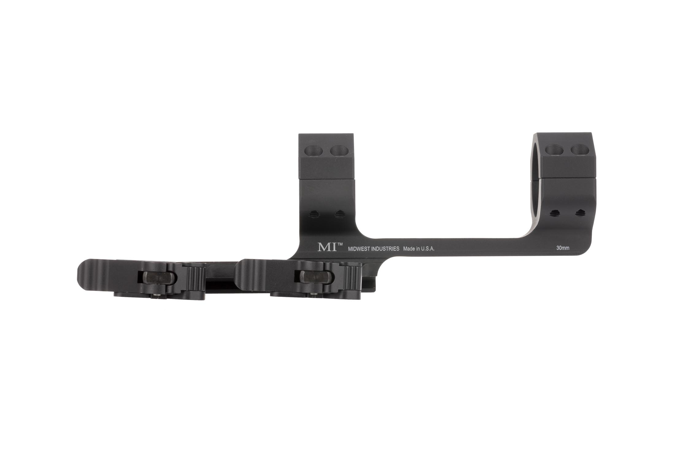 The Midwest Industries 30mm extended quick detach scope mount is made in the U.S.A. out of 6061 aluminum