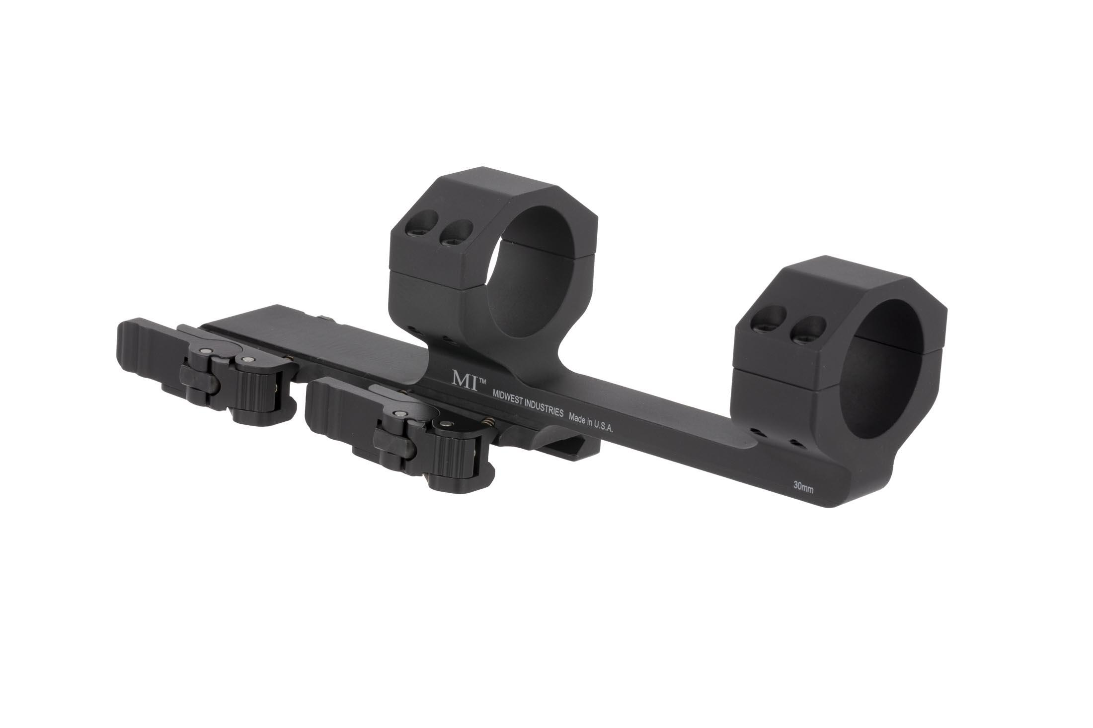 The Midwest Industries quick detach AR15 scope mount is compatible with optics with up to a 56mm objective lens