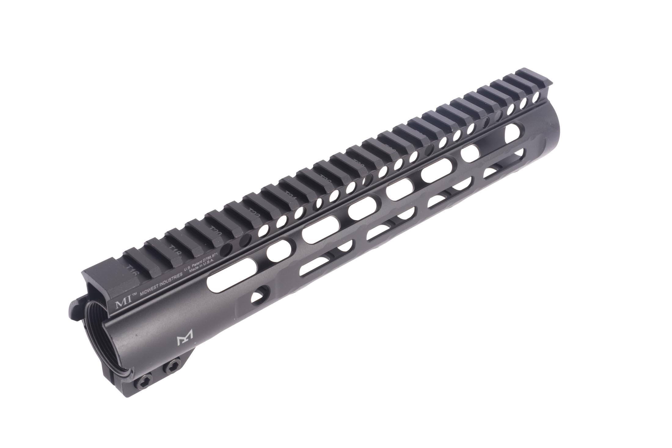 Midwest Industries 10.25in slim line M-LOK rail installs with a lightweight and effective friction lock system.