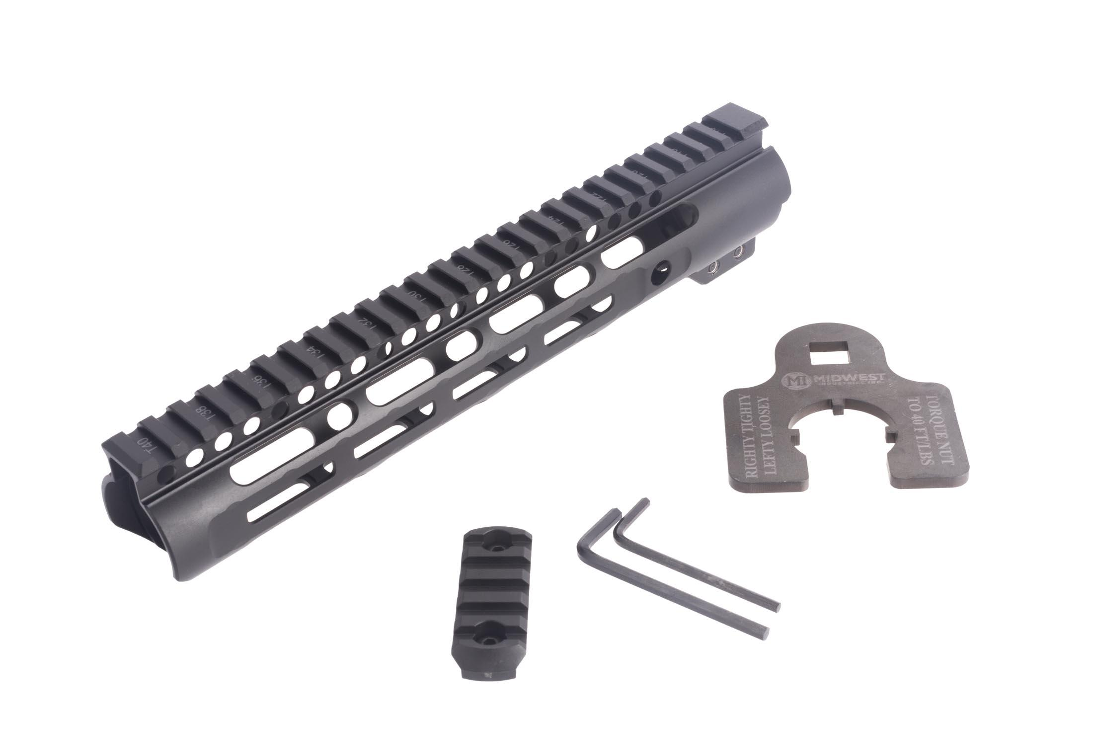 Midwest Industries Slim Line 10.25in free float M-LOK rail for the AR-15 includes a rail section and helpfully labeled barrel nut wrench.