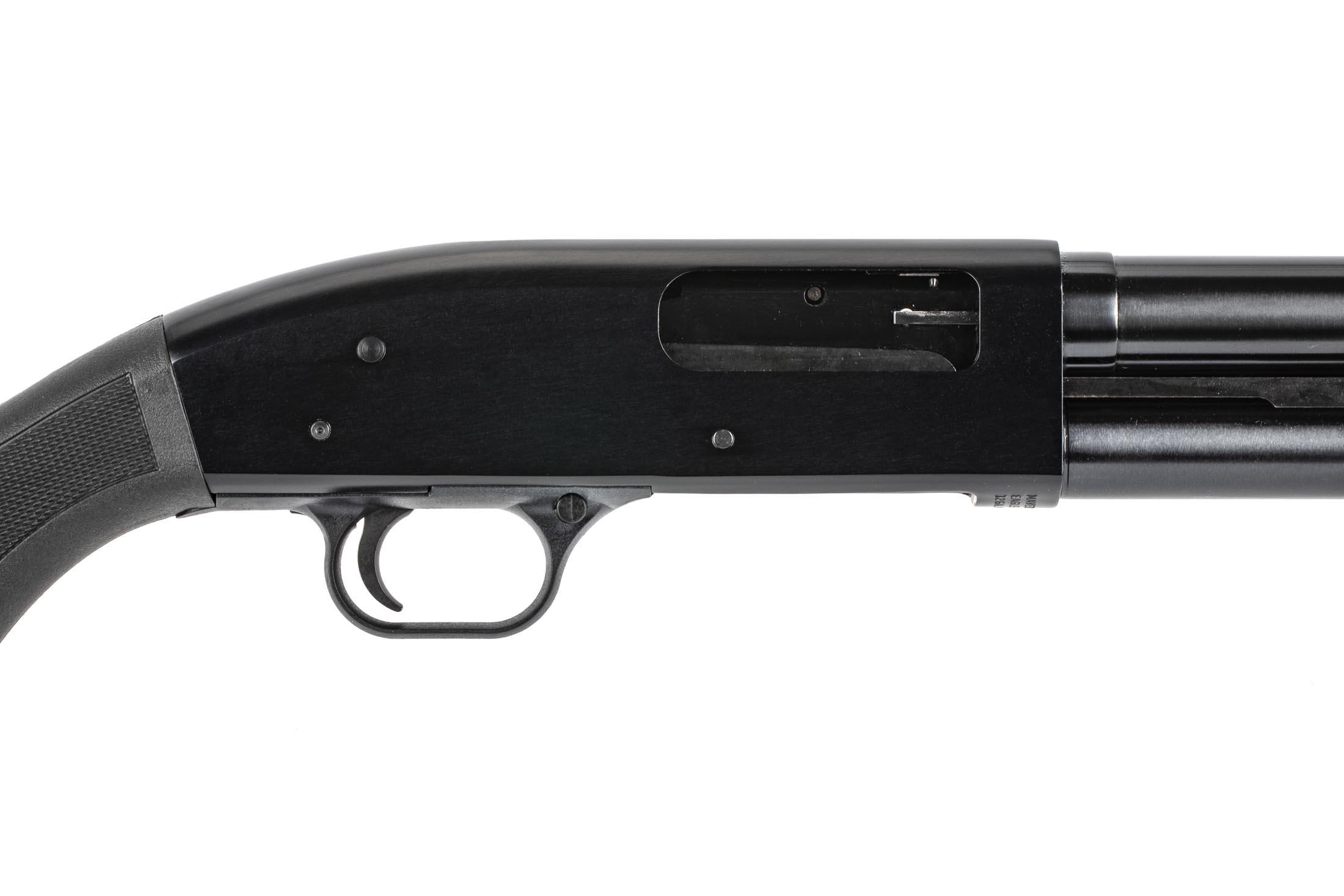 Mossberg Maverick 88 12 guage 18.5in synthetic furniture holds 8-rounds of 2 3/4in shells.