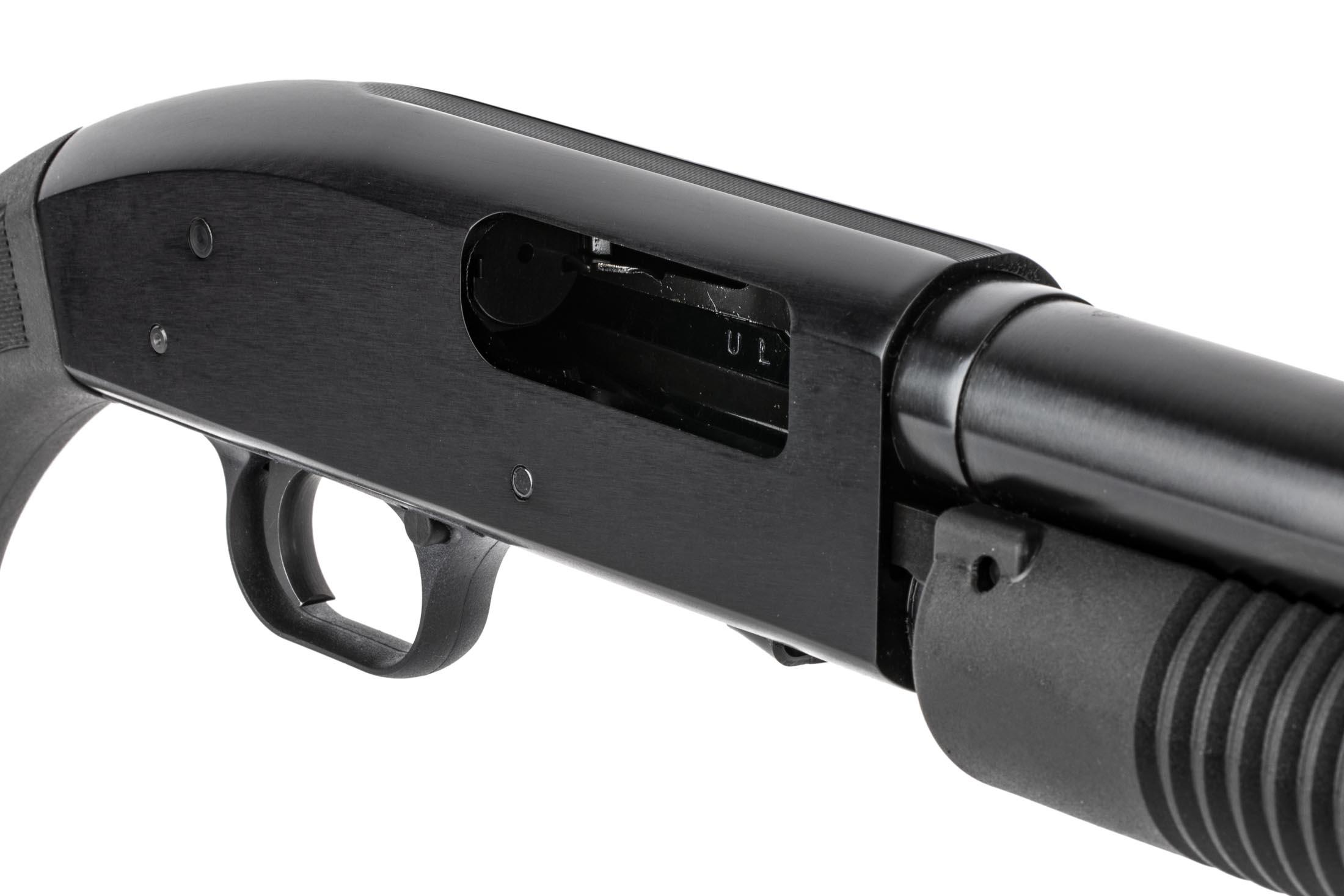 Mossberg's 18.5in Maverick 88 pump action 12 gauge is equipped with a simple crossbolt safety selector.