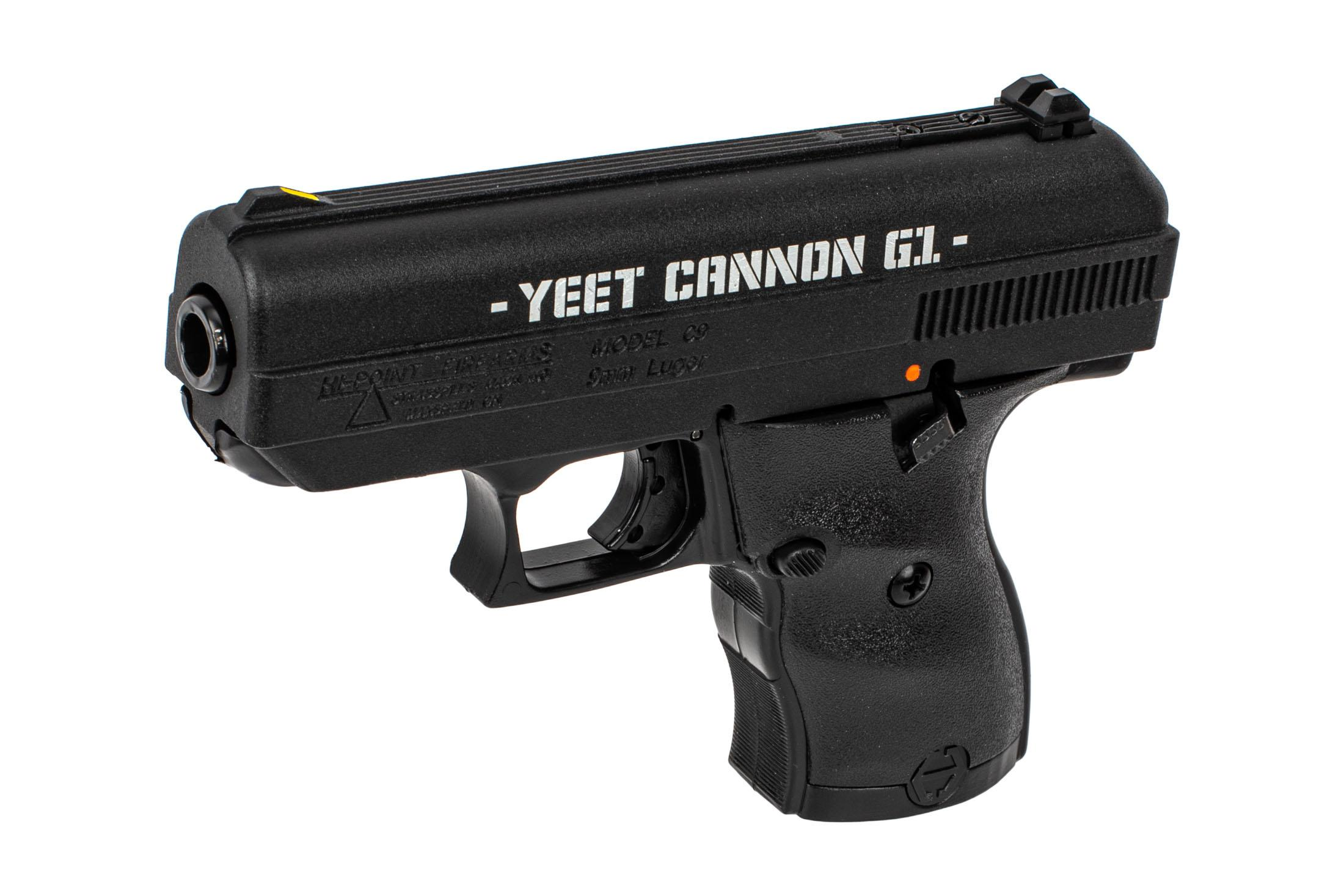 Hi-Point C9 YEET CANNON G1 9mm handgun with meme-tactular laser engraving on the slide.