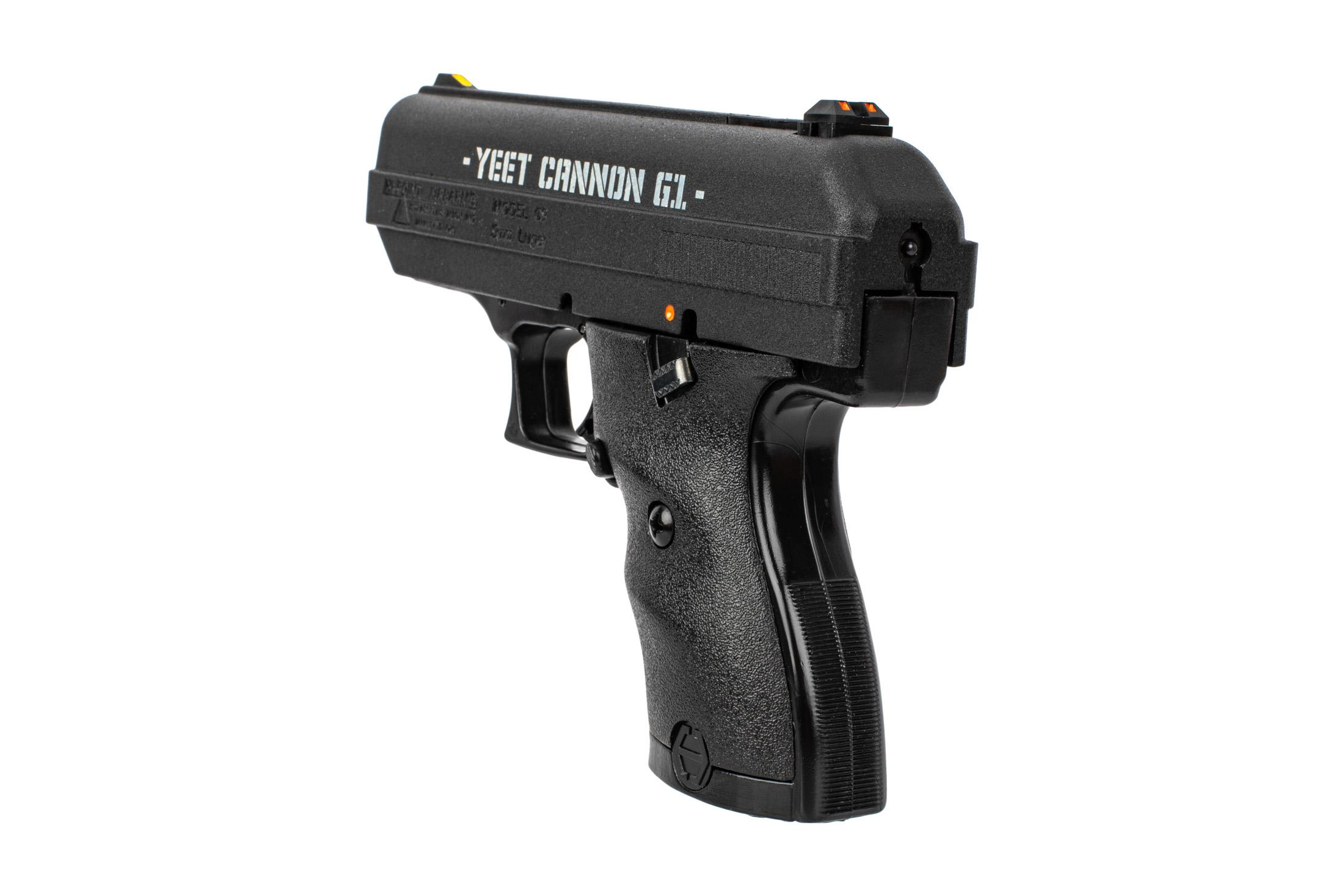Hi-Point C9 9mm handgun is special edition YEET CANNON because memes and has 3-dot sights with adjustable rear.