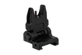 Leapers UTG ACCU-SYNC flip up AR-15 back up iron sights are spring loaded for rapid deployment with a tough black finish