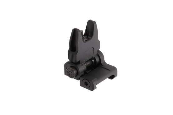 Leapers UTG black anodized ACCU-SYNC flip-up AR-15 front sight springs up at the push of a button and uses standard A2 front sights