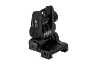 Leapers UTG ACCU-SYNC flip up AR-15 back up rear iron sights are spring loaded for rapid deployment with a tough black finish