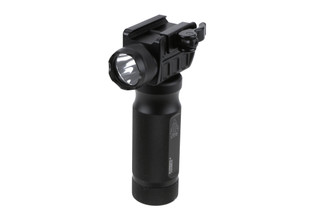 The Leapers UTG vertical Foregrip Flashlight features a quick detach mount and 400 lumens of light