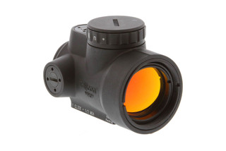 The Trijicon MRO red dot sight features a wide objective lens for an improved field of view