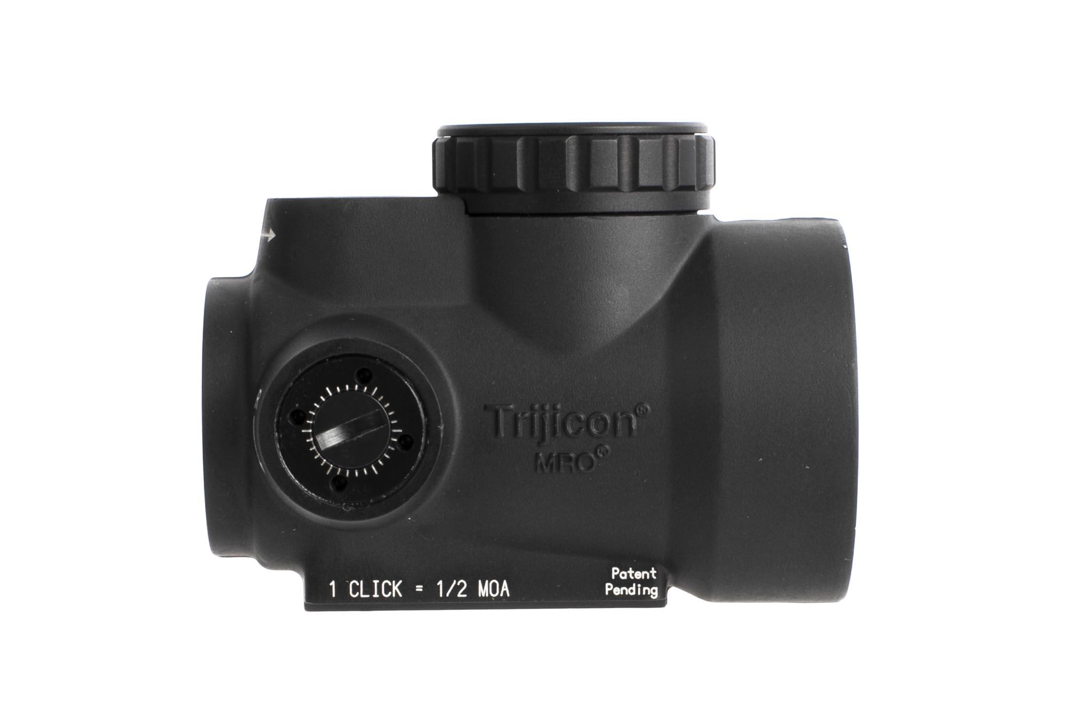 Trijicon MRO 2 MOA Green Dot reflex sight has shielded controls for enhanced durability and a heavy duty forged body, doesn't include mount www.primaryarms.com
