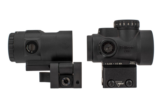 Trijicon MRO HD red dot sight and magnifier combo are hardcoat anodized black