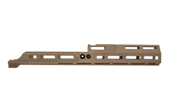 "KDG 6.5"" MREX MK2 receiver extension fits SCAR rifles with M-LOK slots. flat dark earth anodized finish."