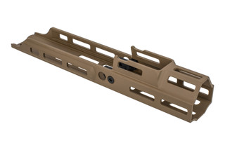 Kinetic Development Group 4.25in MREX Modular Receiver Extension for the SCAR with FDE anodized finish and M-LOK mounting.