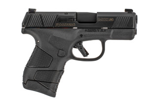 The Mossberg MC1-SC 9mm pistol features night sights and no manual safety