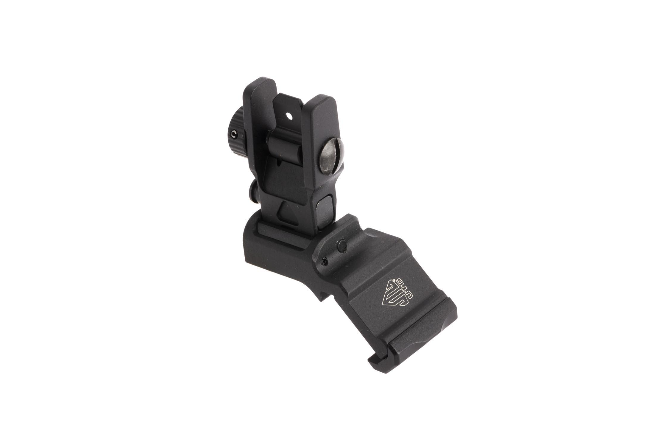 Leapers AccuSync 45-degree offset backup rear iron sight features a tough anodized black finish and tough 6061 construction