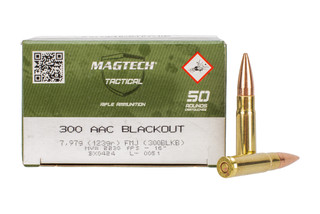 Magtech 300 Blackout ammunition loaded with 123 grain super sonic full metal jacket bullets for training and plinking