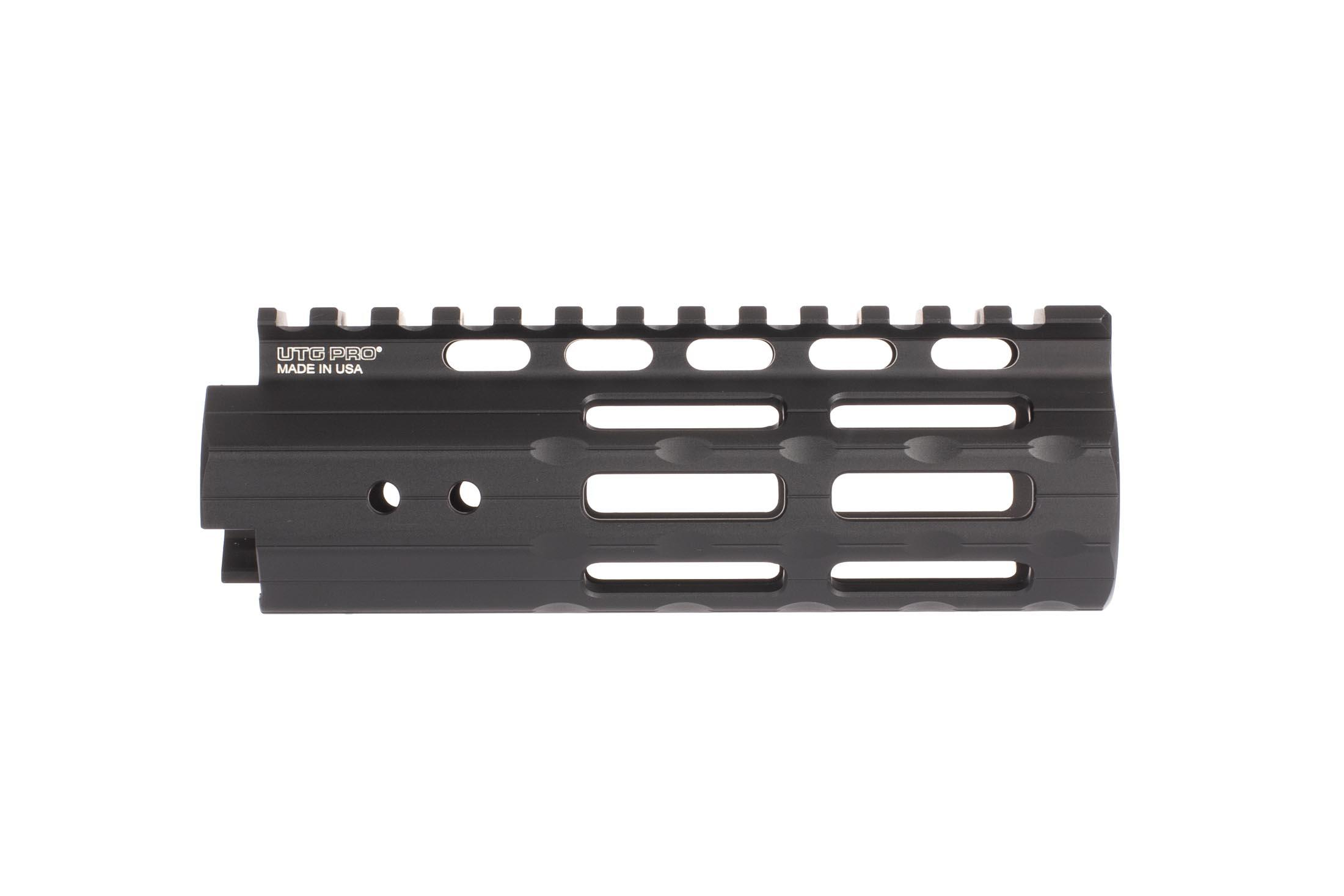 Leapers UTG PRO 5.5in Super Slim free float handguard accepts M-LOK Accessories in 28 slots on seven surfaces