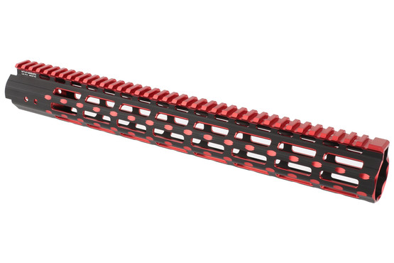 The Leapers UTG Pro Super Slim AR15 handguard 15 inch features a black and red finish