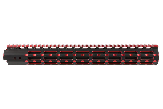 The Leapers UTG Pro Super Slim Handguard black and red features M-LOK attachment slots