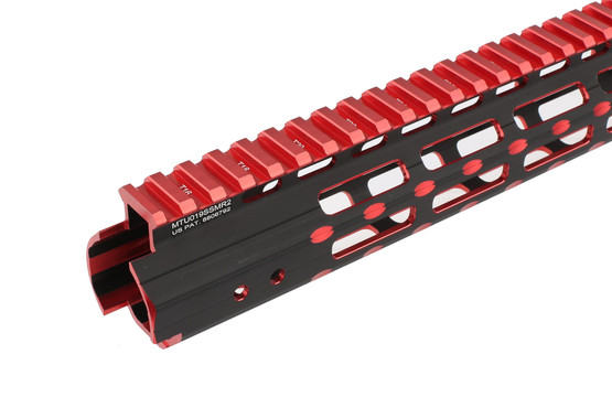 The Leapers UTG Pro Super Slim M-LOK handguard features a t-marked picatinny top rail