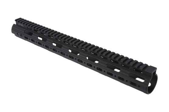 The super slim free float handguard by leapers has a full length picatinny top rail