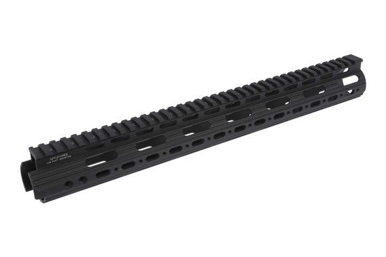 The leapers utg pro super slim free float ar15 handguard model 4/15 attaches by a one piece barrel nut