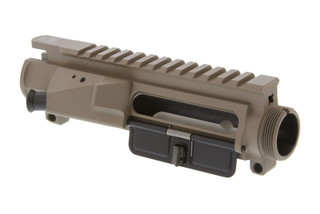 The Vltor MUR AR15 Upper Receiver tan features a machined shell deflector and forward assist
