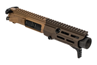 Maxim Defense PDX 5.56 Complete Upper Receiver features a 5.5 inch barrel and anodized tan and brown